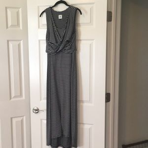 cabi Black & White Stripe Midi Dress (M)
